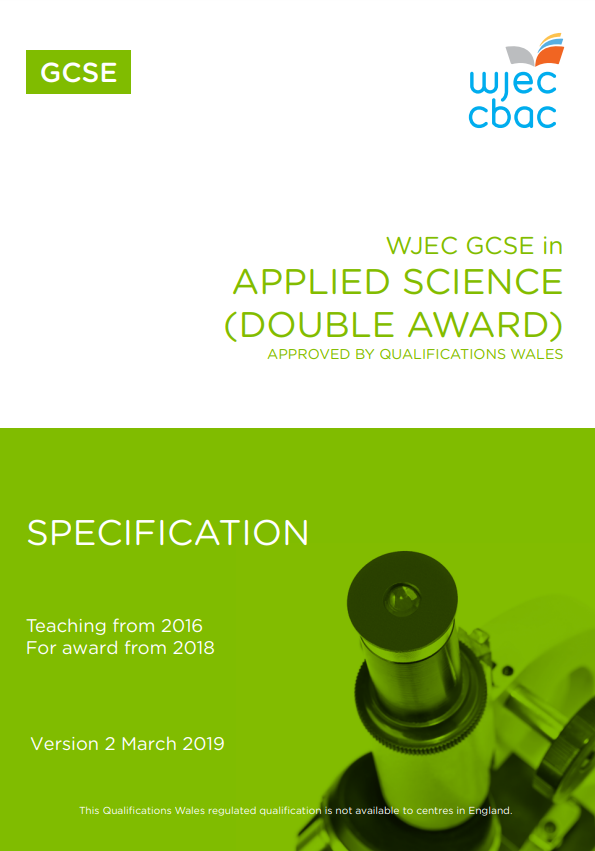 Entry Level Certificate In Science Specification
