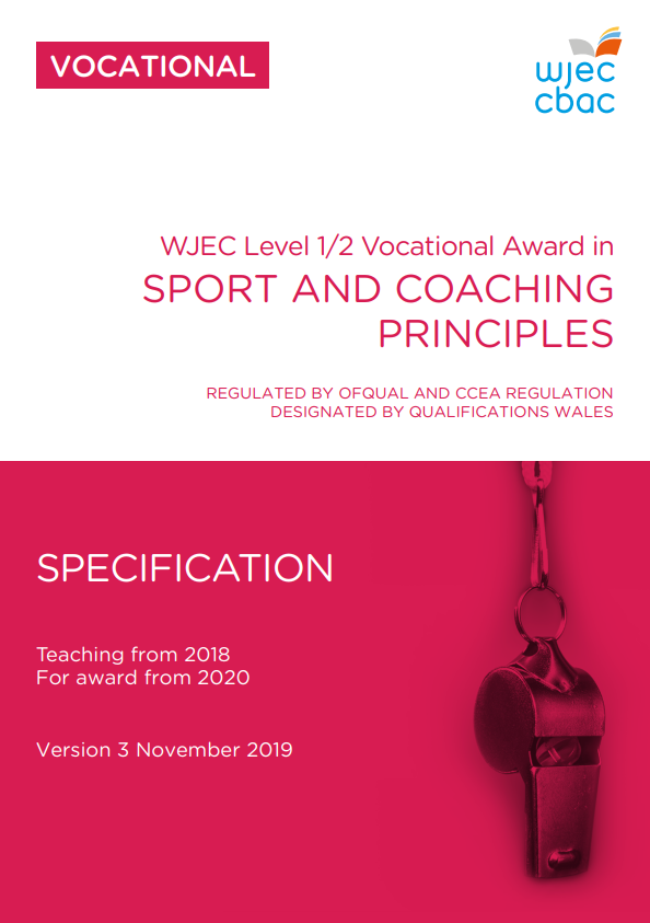 Level 1/2 Award Sport and Coaching Principles Specification