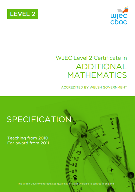 Level 2 Certificate In Additional Mathematics Specification