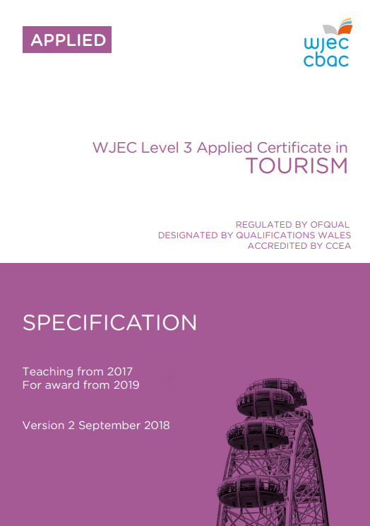 Level 3 Applied Certificate Tourism Specification