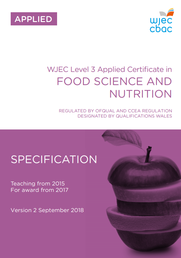 Level 3 Food Science and Nutrition Certificate Specification