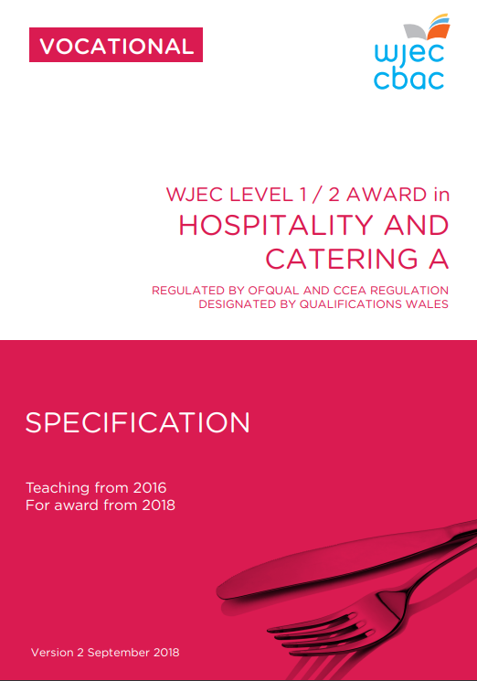 Level 1/2 Hospitality and Catering Specification